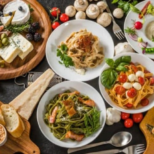 dishes of Italian food